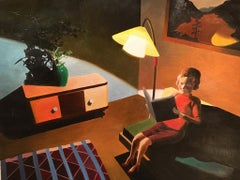 Woman Reading, small figurative oil painting, 1950s living room, evening