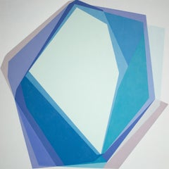 BLUE TYPE - blue geometric abstraction painting