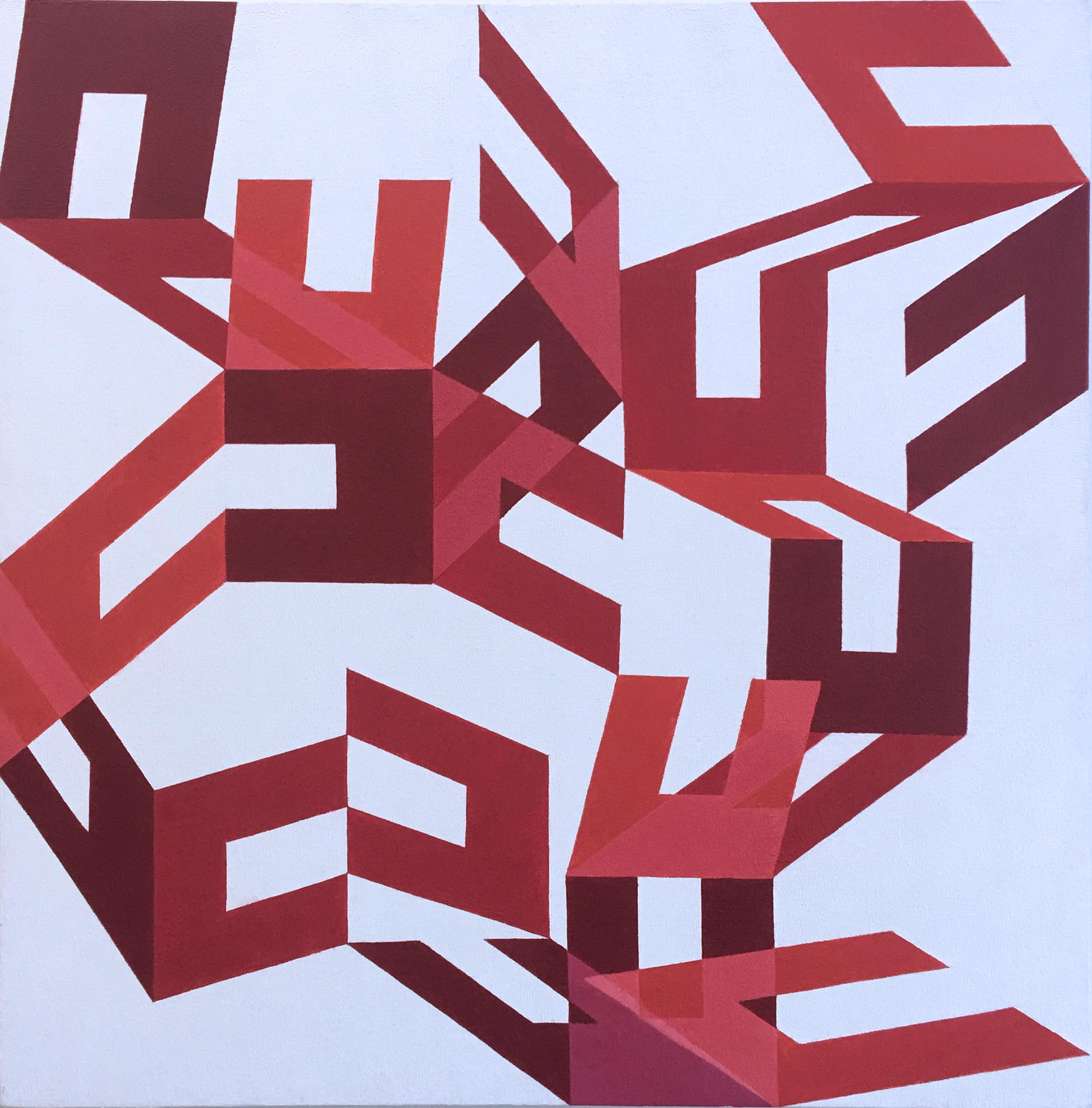 Rosebud, 2013, abstract geometric, large scale canvas painting, oil, red, white