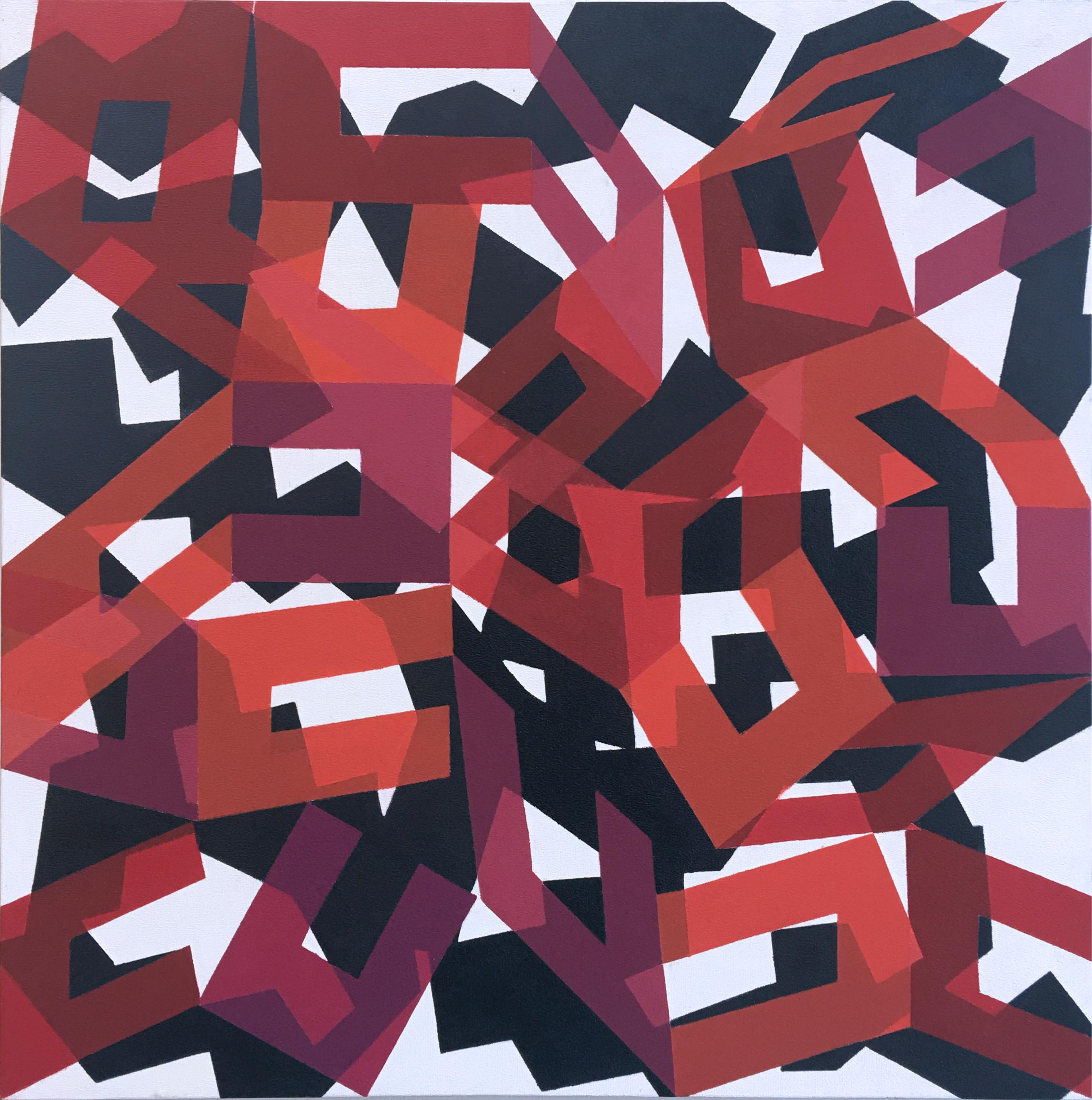 So Real, abstract geometric red & white large scale painting, oil on canvas 2013