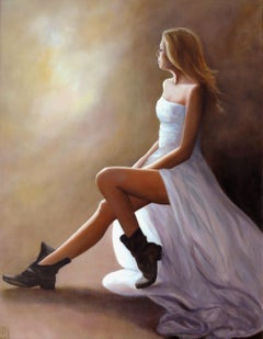 Portrait in White Dress, Painting, Oil on Canvas