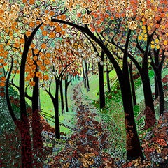 Autumn Tree Tunnel BY KATIE ALLEN, Semi-Abstract Landscape, Affordable Art