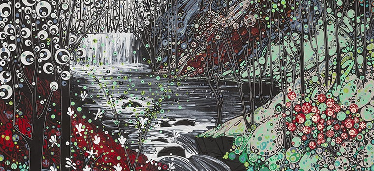 Glynneath Falls, stylised abstract waterfall landscape, large print  - Contemporary Print by Katie Allen