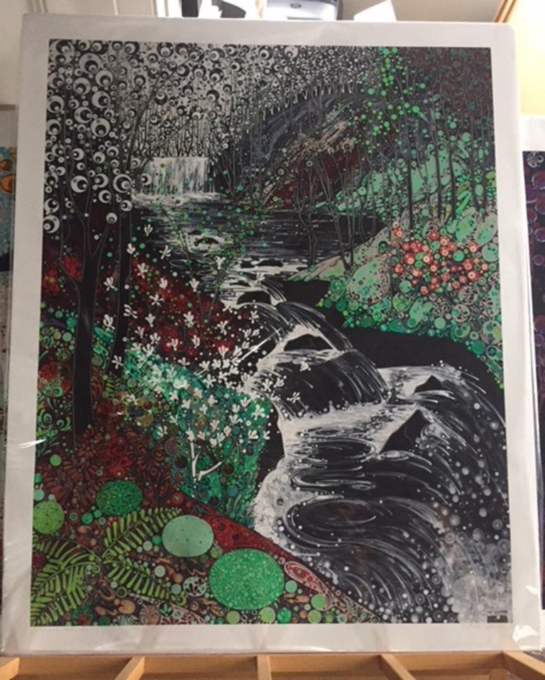 Glynneath Falls, stylised abstract waterfall landscape, large print  - Black Abstract Print by Katie Allen