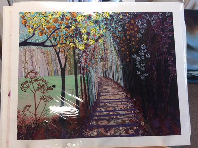 Somewhere in between, stylised abstract landscape print, colourful impressionist - Print by Katie Allen