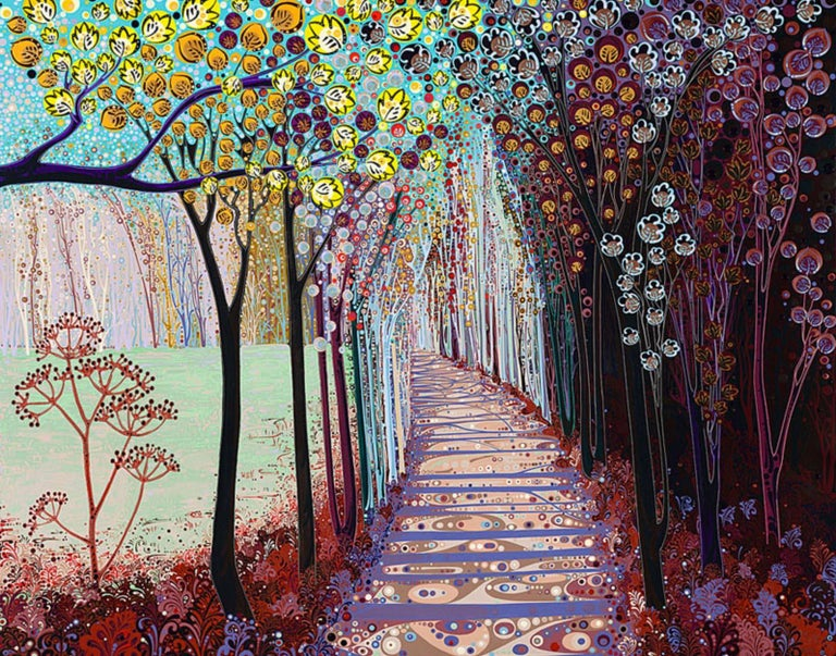 Katie Allen Abstract Print - Somewhere in between, stylised abstract landscape print, colourful impressionist