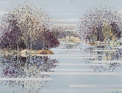 Winter Reflections – Oxwitch Marsh, Katie Allen, Bright Art, Landscape Artwork