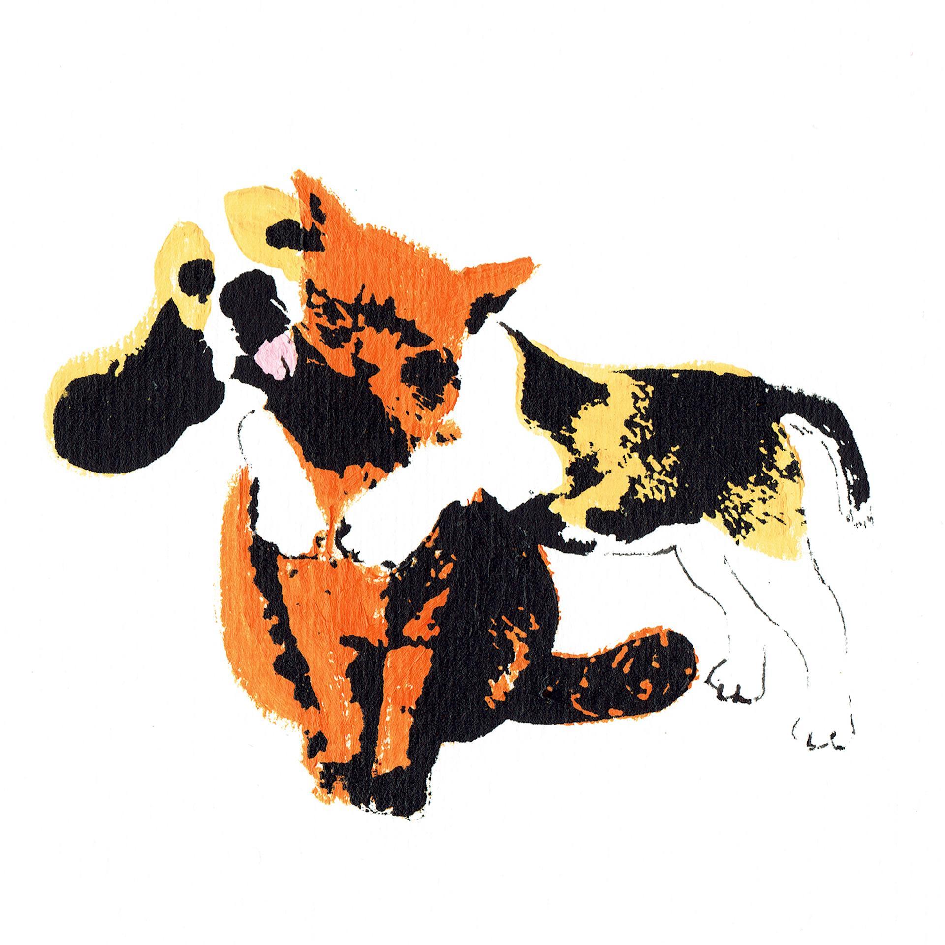 Biggest Hug by Katie Edwards dog hugging a cat, virtual hug, Screen Print