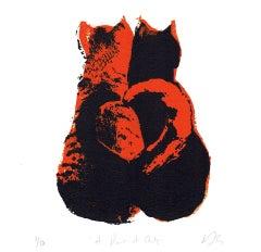 Katie Edwards, A Pair of Cats, Original Silkscreen Print, Animal Art, Art Online