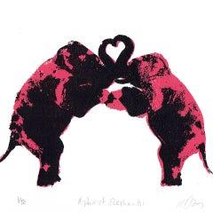 Katie Edwards, A Pair of Elephants, Original Silkscreen Print, Affordable Art