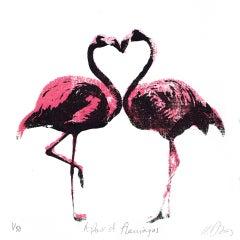 Katie Edwards, A Pair of Flamingos, Gift Art, Affordable Art, Animal Art