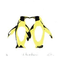 Katie Edwards, A Pair of Penguins, Affordable Art, Animal Art, Love Art