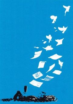 Katie Edwards, Flying Low, Original Silkscreen Print, Affordable Art, Book Art