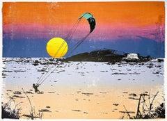 Katie Edwards, Sunset Kitesurf, Landscape limited edition print