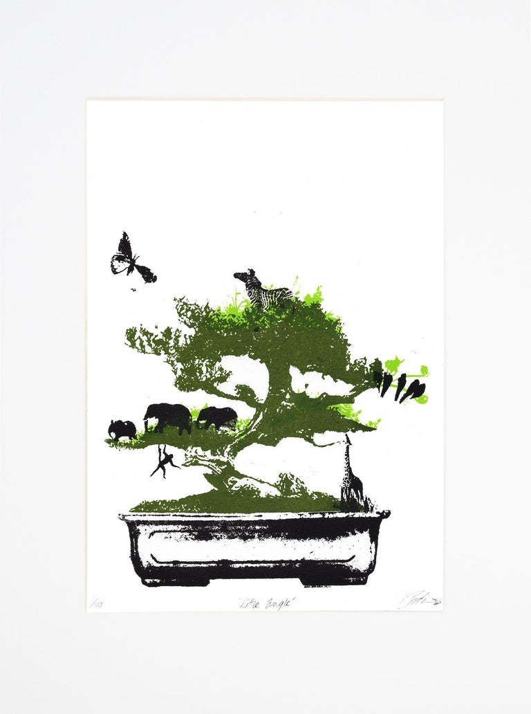 Katie Edwards Little Jungle Limited Edition 3 Colour Silkscreen Print Edition of 100 Mounted Size: H 40.5cm x W 30.5cm x D 0.5cm Sold Unframed (Please note that in situ images are purely an indication of how a piece may look)  Little Jungle is a