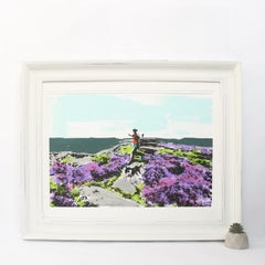 Over Owler Tor, Original screenprint by Katie Edwards, Animal Art, Bright Art
