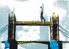 Tower Bridge, Katie Edwards, Architectural Art, Bright London Art, Landmark Art