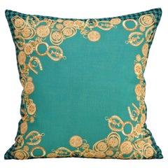 Katie Larmour Vintage Celine Scarf Backed in Irish Linen Cushion Pillow Green
