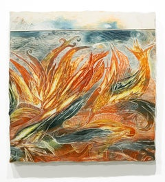 """Wild is the Wind"", Warm Colors, Orange, Abstracted Landscape, Intaglio Print"