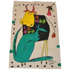 """Katsui of Australia colorfully vivid """"A Moo & A Roo"""" Pure Linen Tablecloth"""