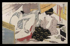 Shunga - Original Woodcut by Katsukawa Schuncho - Mid-18th Century
