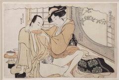 Spring Picture - Original Woodcut by Katsukawa Schuncho - Mid-18th Century