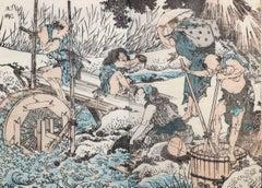 Farmers at Work - Original Woodcut by Katsushika Hokusai - 18020