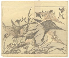 Hokusai, Ukiyo-e, Japanese Woodblock Print, Manga, Geese, Bird and Flower, Edo