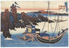 Katsushika Hokusai, Japanese Woodblock Print, Boats, Ukiyo-e, Tanka Poem, Edo