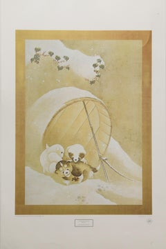 """""""Puppies in the Snow"""" by Katsushika Hokusai. Lithograph printed in 1978."""