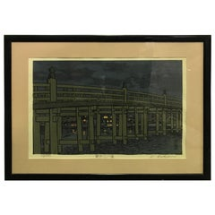 Katsuyuki Nishijima Signed Limited Edition Japanese Woodblock Print Evening Rain