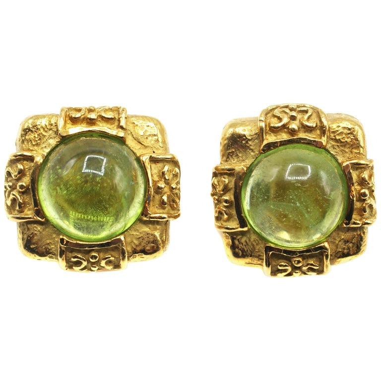 Katy Briscoe Cabochon Peridot 18 Karat Gold Square Earclips For Sale