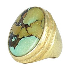Katy Briscoe Chinese Turquoise Ring in 18 Karat Yellow Gold