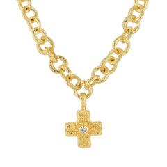 Katy Briscoe Yellow Gold Cross Pendant Necklace