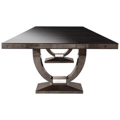 Davidson's Art Deco, Grace Dining Table, in Sycamore Black Wood and Nickel
