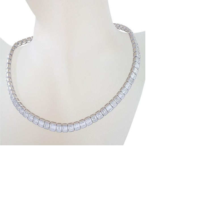 Kauffman de Suisse Emerald Cut Diamond Necklace In Excellent Condition For Sale In New York, NY