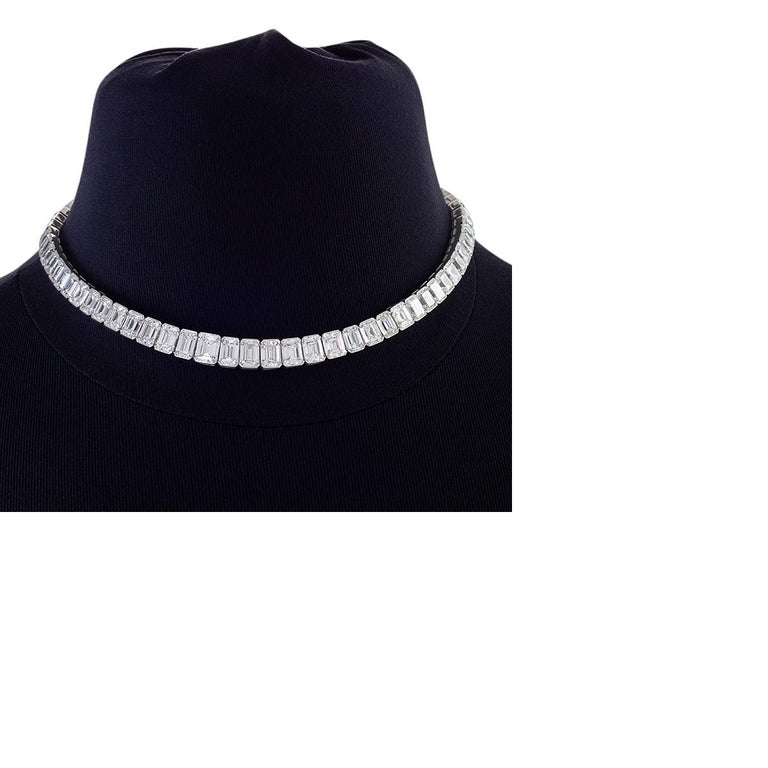 Women's Kauffman de Suisse Emerald Cut Diamond Necklace For Sale