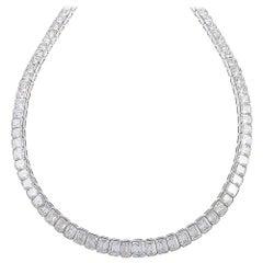 Kauffman de Suisse Emerald Cut Diamond Necklace