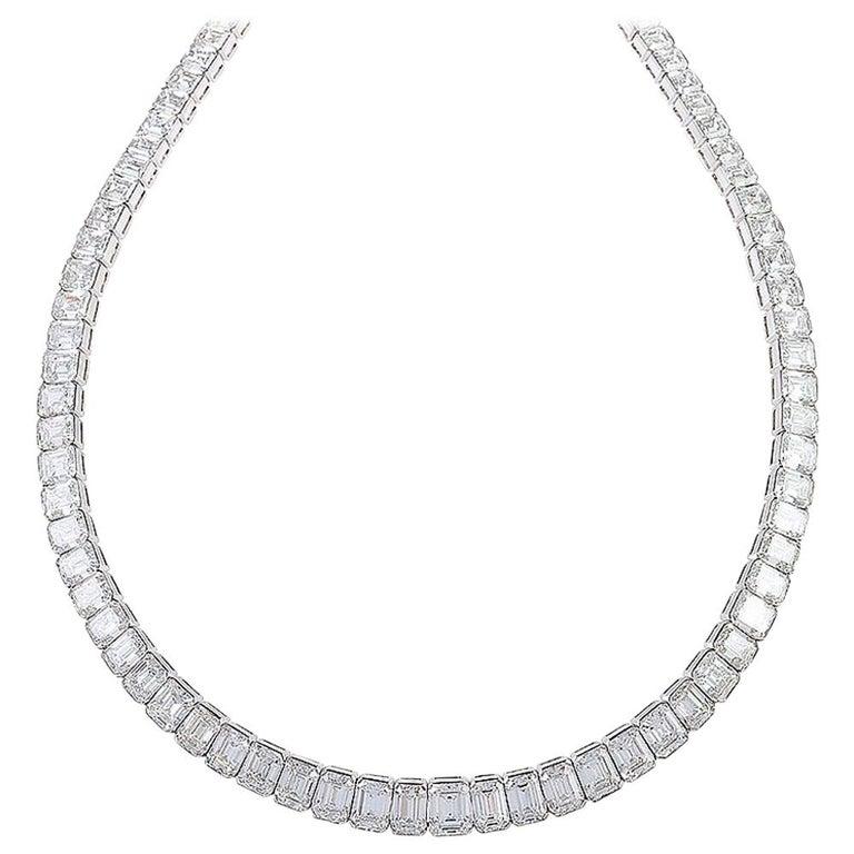 Kauffman de Suisse Emerald Cut Diamond Necklace For Sale