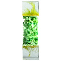 "Glass vs Plastic collection, ""Kawasaki"" vivid green structural organic sculpture"