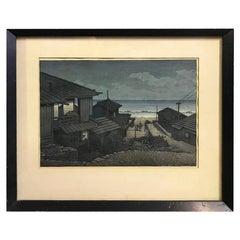 """Kawase Hasui Japanese Woodblock Print """"Cloudy Day in Mizuki, Ibaraki Prefecture"""""""
