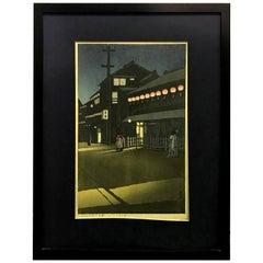 Kawase Hasui Japanese Woodblock Print Evening at Soemoncho in Osaka, 1933