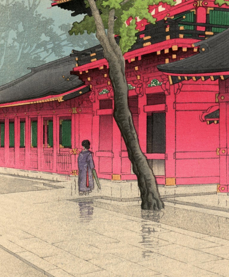 After the Rain at Sanno - Beige Landscape Print by Kawase Hasui
