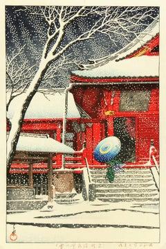 Japanese woodblock - Brightly Colored Winter Scene Kiyomizu Temple Ueno