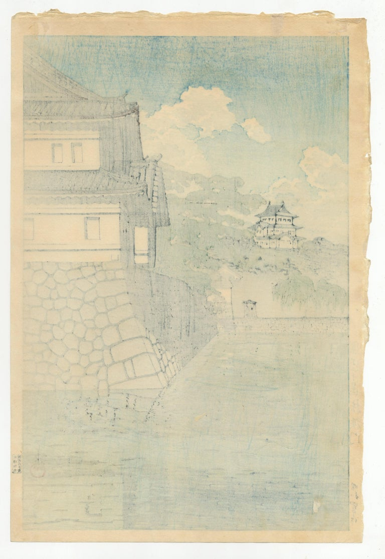 Kawase Hasui, Castle, Shin Hanga, Original Japanese Woodblock Print, Blue, Water For Sale 1