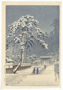 Kawase Hasui, Honmonji Temple, Shin Hanga, Snowy Landscape, Ukiyo-e, Modern