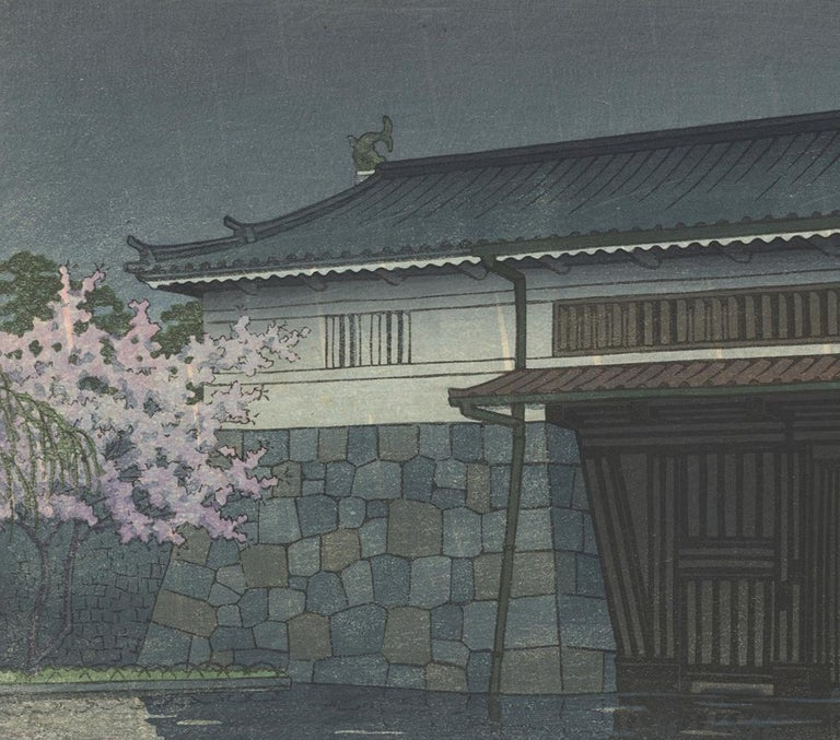 Kawase Hasui, Japanese Woodblock Print, Ukiyo-e, Shin-hanga, Landscape, Night For Sale 3
