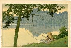 Man Fishing on Lake Matsubara, Shinshu