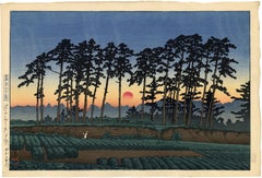 Sunset at Ichinokura, Ikegami from 20 Views of Tokyo series