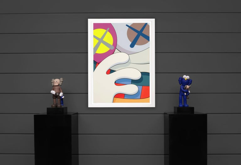 The 'Blame Game' IIby KAWS is an exceptionally rare silkscreen print, one of the ten in the portfolio series created in 2014. A completely new, individual, brightly colored screenprint signed and numbered by the artist. The portfolio was created in